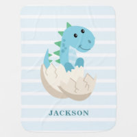 Cute Dinosaur Boy Personalized Baby Blanket