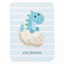 Cute Dinosaur Boy Personalized Baby Blanket