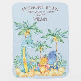 Cute Dinosaur Boys Baby Birth Stats Blanket