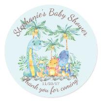 Cute Dinosaur Boys Baby Shower Favor Sticker