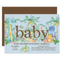 Cute Dinosaur Boys Baby shower Invitation