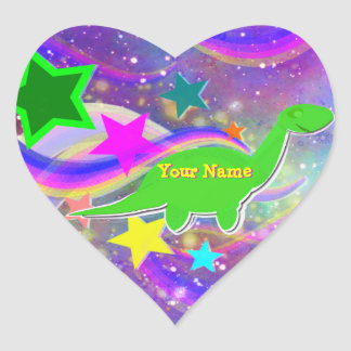 Cute Dinosaur Color Stars & Swirls Name Stickers