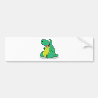 Cute dinosaur eating lollipop candy bumper sticker