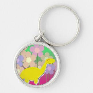 Cute Dinosaur & Flowers Keychain