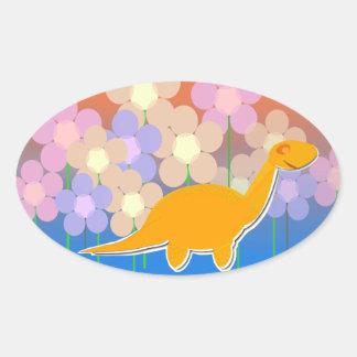 Cute Dinosaur & Flowers Stickers