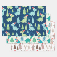 Cute Dinosaur Holiday Christmas Wrapping Paper Sheets