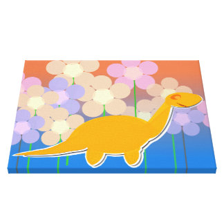 Cute Dinosaur in a Flower Field Canvas Print