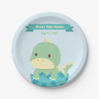 Cute Dinosaur in Egg Baby Shower Party Supplies Paper Plate