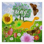 Cute Dinosaur in Spring Landscape Poster Print