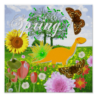 Cute Dinosaur in Spring Landscape Poster Print