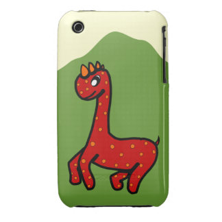Cute Dinosaur iPhone 3 Case - Red Spotted Dinosaur