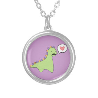 Cute Dinosaur Mustache Round Pendant Necklace