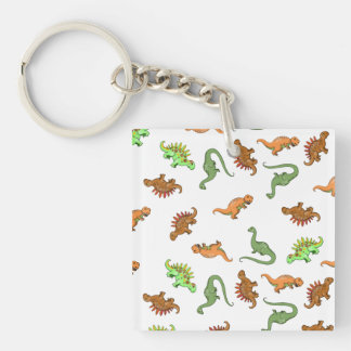 Cute Dinosaur Pattern Double-Sided Square Acrylic Keychain