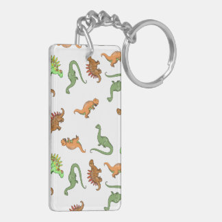 Cute Dinosaur Pattern Double-Sided Rectangular Acrylic Keychain