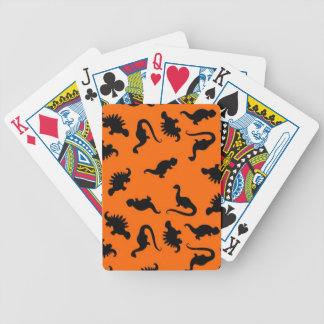 Cute Dinosaur Pattern on Orange Bicycle Playing Cards