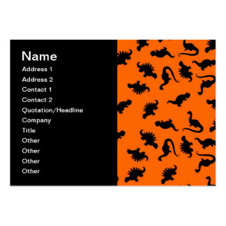 Cute Dinosaur Pattern on Orange Large Business Cards (Pack Of 100)