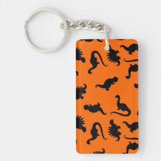 Cute Dinosaur Pattern on Orange Single-Sided Rectangular Acrylic Keychain