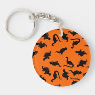 Cute Dinosaur Pattern on Orange Single-Sided Round Acrylic Keychain