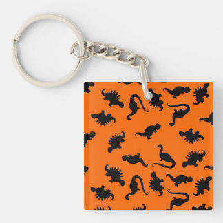Cute Dinosaur Pattern on Orange Single-Sided Square Acrylic Keychain