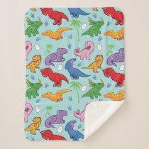 Cute Dinosaur Pattern Sherpa Blanket