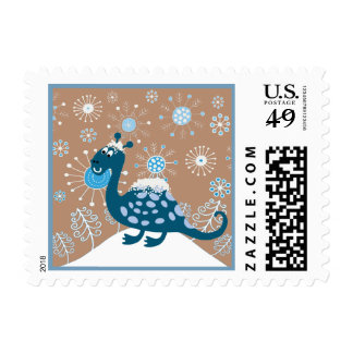 Cute Dinosaur Playing in the Snow! Postage Stamps