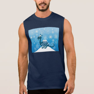 Cute Dinosaur Playing in the Snow! Sleeveless Shirt