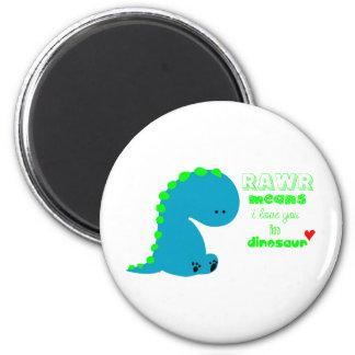 Cute Dinosaur RAWR 2 Inch Round Magnet