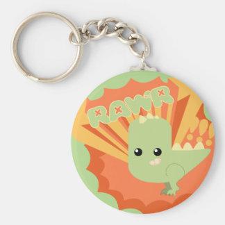 Cute Dinosaur Rawr Basic Round Button Keychain