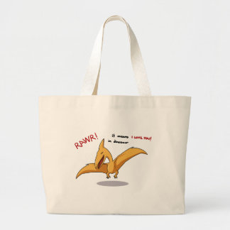 cute dinosaur rawr means I love you Large Tote Bag