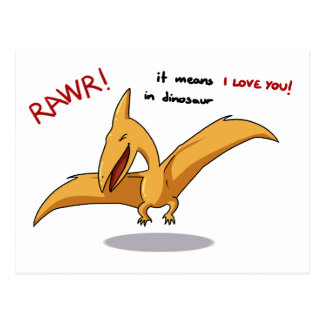 cute dinosaur rawr means I love you Postcard