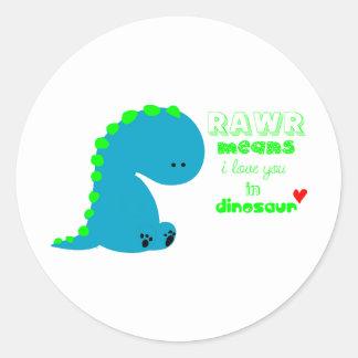 Cute Dinosaur RAWR Round Sticker