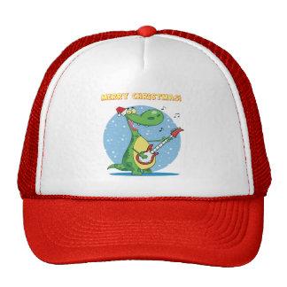 Cute dinosaur rock n' roll christmas holiday hat