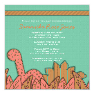 Cute Dinosaur Theme Baby Shower - Mint Pink Brown Invitation