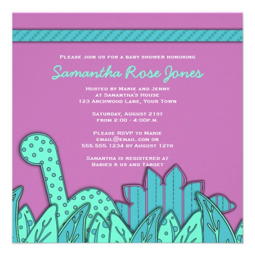 Cute Dinosaur Theme Baby Shower - Purple Turquoise Personalized Announcement
