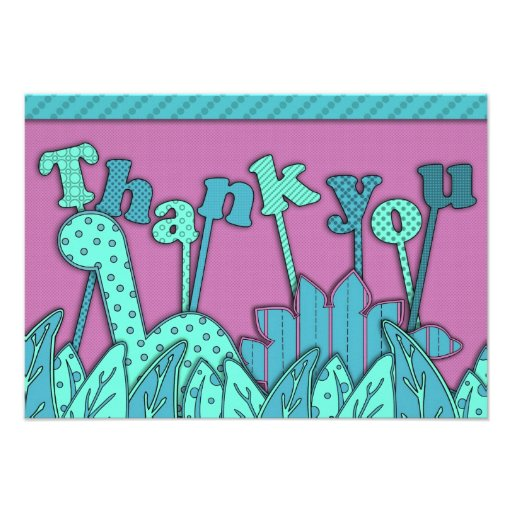 Cute Dinosaur Theme Flat Thank You Note Turquoise Personalized Invite