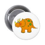 Cute dinosaur - triceratops pinback button