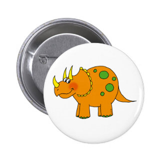 Cute dinosaur - triceratops pinback button