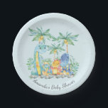 "Cute Dinosaurs Baby Shower 7&quot; Plate<br><div class=""desc"">Colorful jungle scene cute dinosaurs featuring a grouping of dinosaurs with palm trees &amp; jungle leaves set on a blue background for a boys baby shower.</div>"
