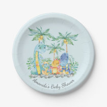 """Cute Dinosaurs Baby Shower 7"""" Plate"""