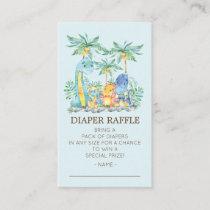 Cute Dinosaurs Baby Shower Diaper Raffle Ticket Enclosure Card