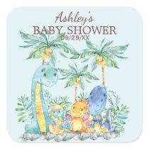 Cute Dinosaurs Baby Shower Favor Sticker