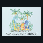 "Cute Dinosaurs Baby Shower Yard Sign<br><div class=""desc"">Colorful jungle scene cute dinosaurs featuring a grouping of dinosaurs with palm trees &amp; jungle leaves set on a blue background for a boys baby shower.</div>"