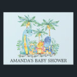 """Cute Dinosaurs Baby Shower Yard Sign<br><div class=""""desc"""">Colorful jungle scene cute dinosaurs featuring a grouping of dinosaurs with palm trees &amp; jungle leaves set on a blue background for a boys baby shower.</div>"""
