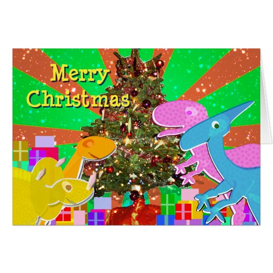 Cute Dinosaurs by the Christmas Tree Card