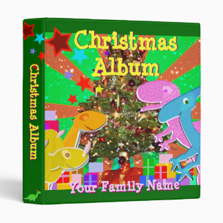 Cute Dinosaurs by the Christmas Tree Family Album 3 Ring Binder