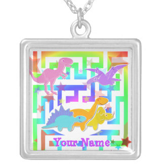Cute Dinosaurs Color Maze Necklace with Your Name