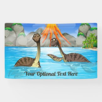 Cute Dinosaurs custom text Kids's banner