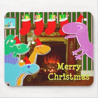 Cute Dinosaurs Fireplace Merry Christmas Mousepad