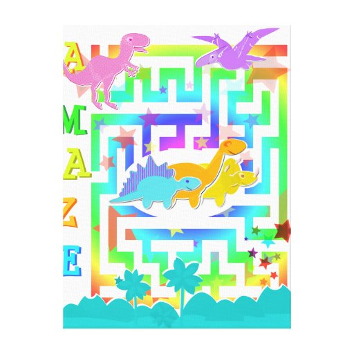 Cute Dinosaurs in a Color Maze Canvas Print