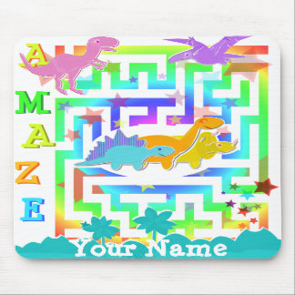 Cute Dinosaurs in a Color Maze Mousepad